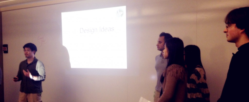 Albert presenting our pitch ideas to Jiyoung.