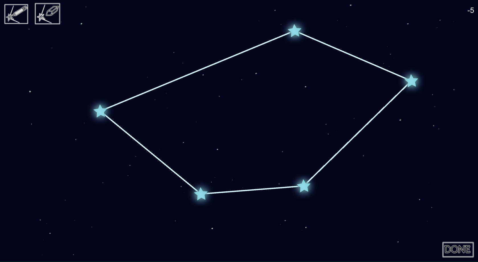 Updated constellation drawing with memory game.