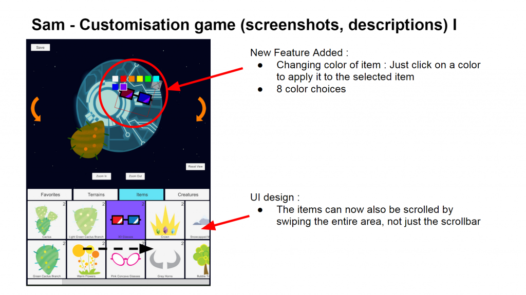 Sam's updates on the customisation game this week.
